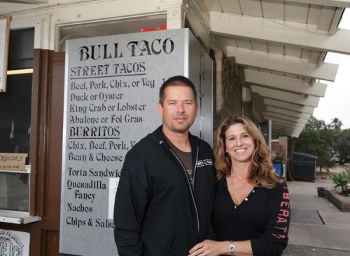 Greg Lukasiewicz and Laurel Manganelli, owners of the Bull Taco Cafe